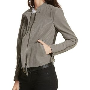 Free People Vegan Suede Leather Grey Moto Jacket